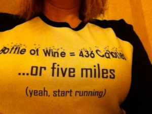 wine or running tee shirt