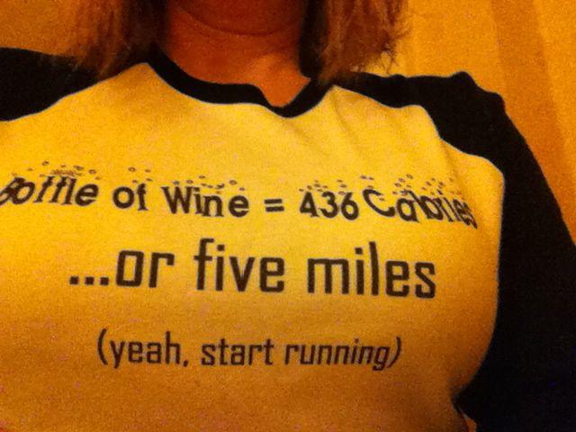 wine or running tee shirt