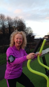 Alison on outdoor gym