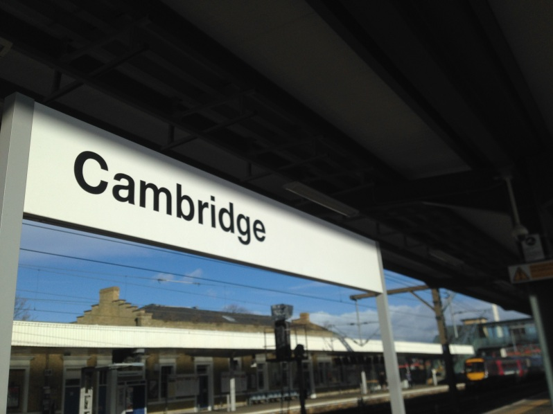 Cambridge train sign