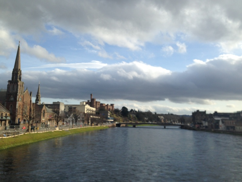 Inverness, river, clouds