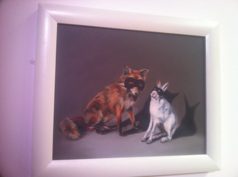 painting of fox and hare