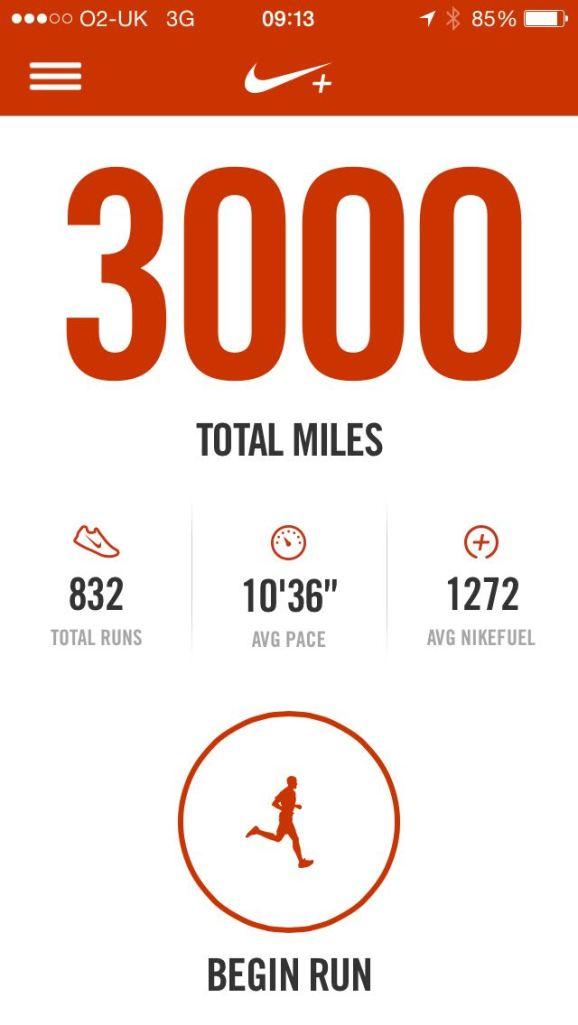 3000 miles target, Nike+