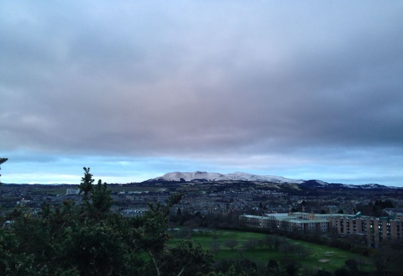 snowy scene over Edinburgh