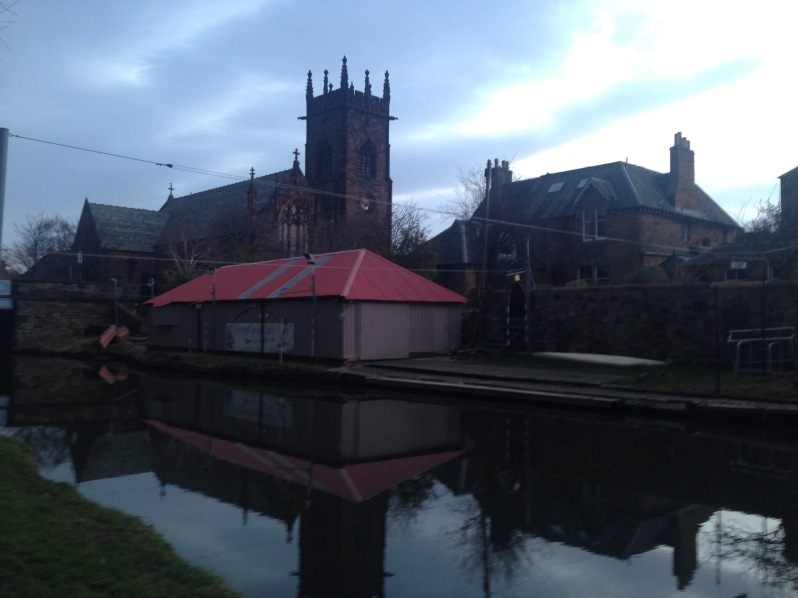 canal, church , weather, sky , shed