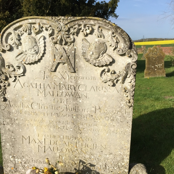 headstone for Agatha Christie crime writer